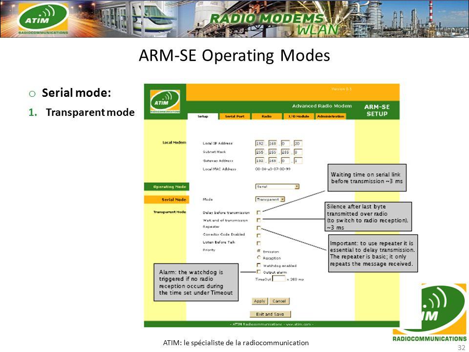 o Serial mode: 1.Transparent mode ARM-SE Operating Modes ATIM: le spécialiste de la radiocommunication 32
