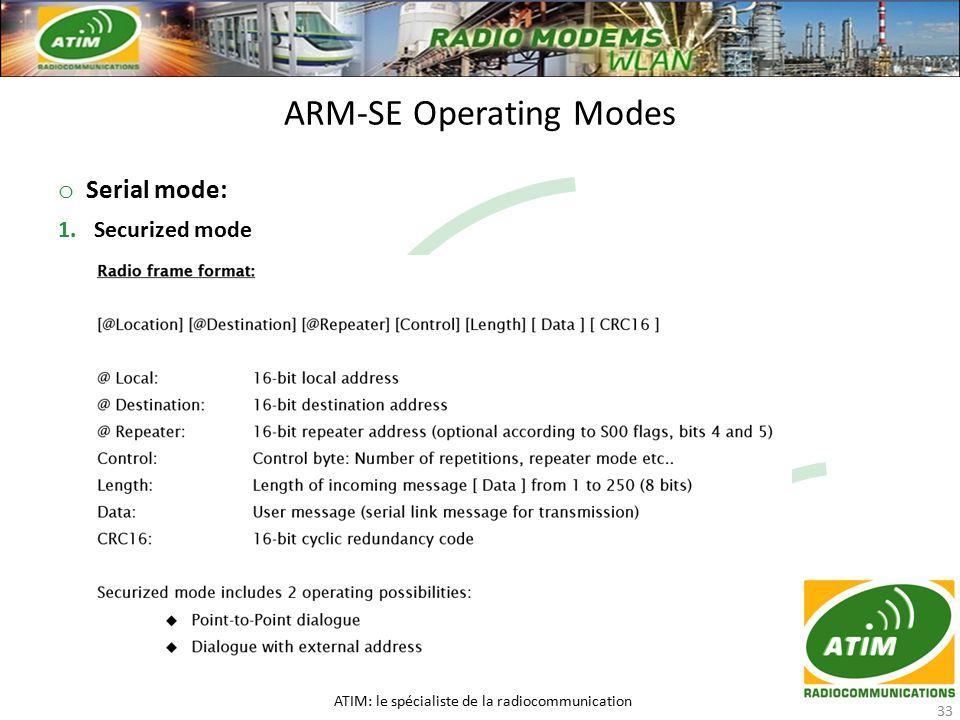 o Serial mode: 1.Securized mode ARM-SE Operating Modes ATIM: le spécialiste de la radiocommunication 33