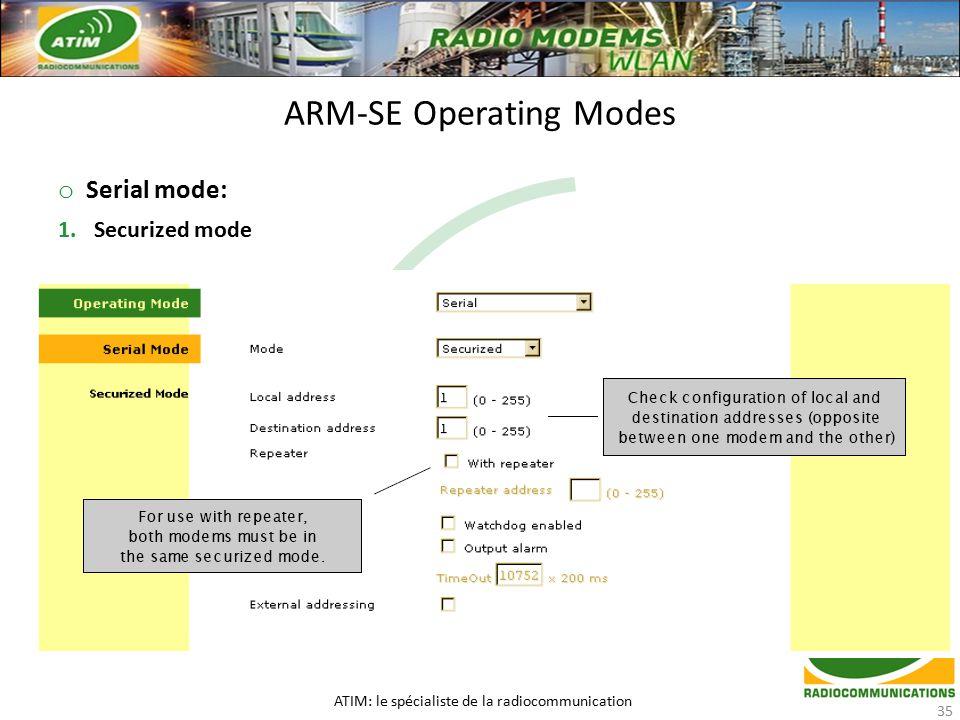 o Serial mode: 1.Securized mode ARM-SE Operating Modes ATIM: le spécialiste de la radiocommunication 35