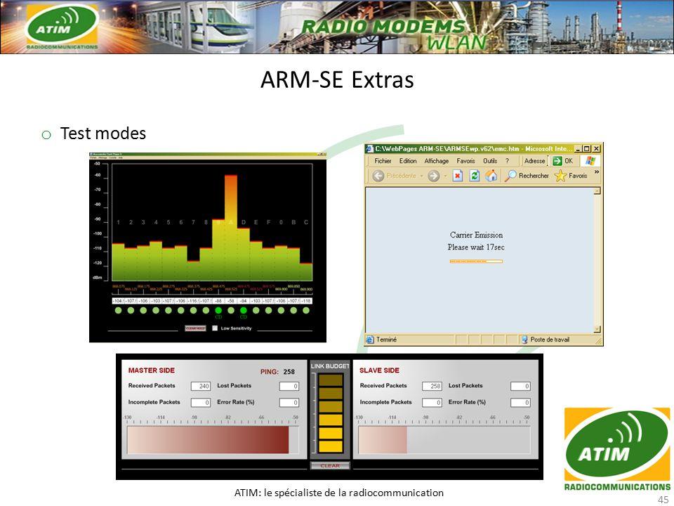 o Test modes ARM-SE Extras ATIM: le spécialiste de la radiocommunication 45