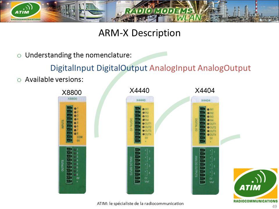 o Understanding the nomenclature: DigitalInput DigitalOutput AnalogInput AnalogOutput o Available versions: ARM-X Description ATIM: le spécialiste de la radiocommunication 49 X8800 X4440X4404