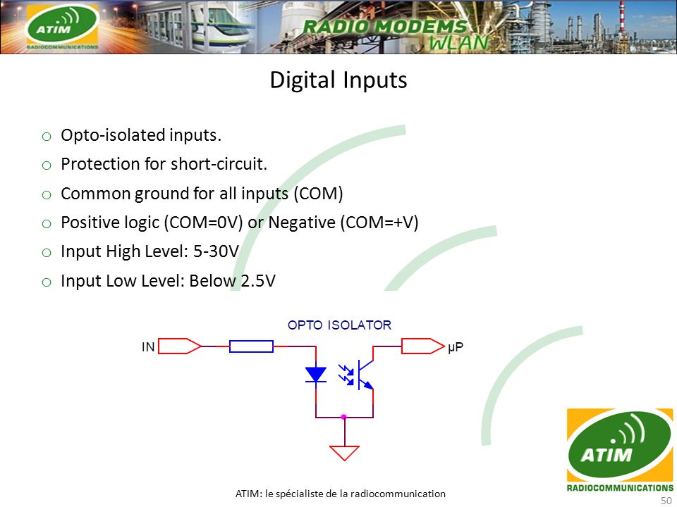 Digital Inputs ATIM: le spécialiste de la radiocommunication 50 o Opto-isolated inputs.