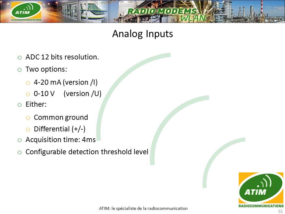 Analog Inputs ATIM: le spécialiste de la radiocommunication 55 o ADC 12 bits resolution.