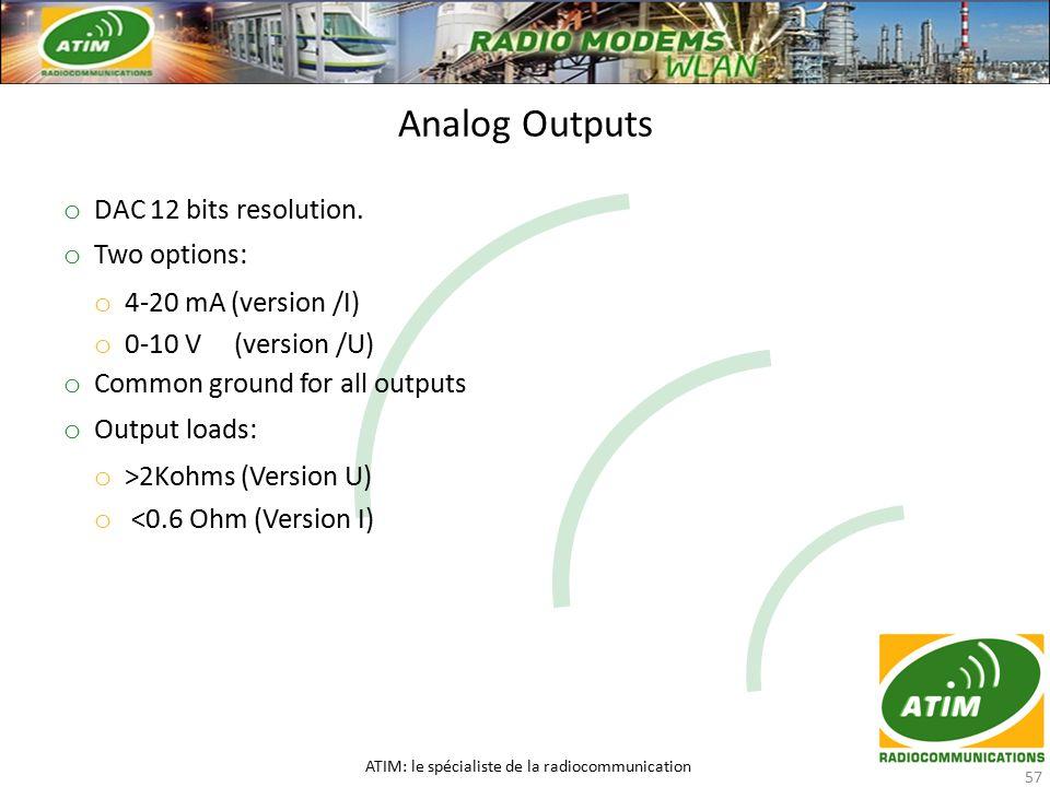 Analog Outputs ATIM: le spécialiste de la radiocommunication 57 o DAC 12 bits resolution.