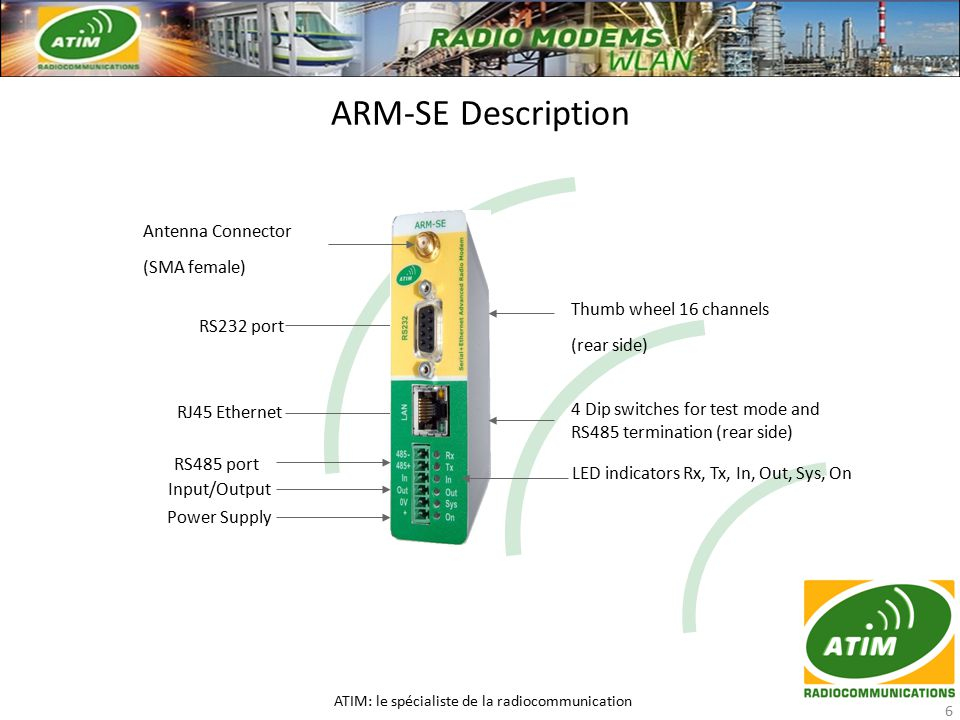 ARM-SE Description ATIM: le spécialiste de la radiocommunication 6 Antenna Connector (SMA female) RS232 port RJ45 Ethernet RS485 port Power Supply Input/Output LED indicators Rx, Tx, In, Out, Sys, On Thumb wheel 16 channels (rear side) 4 Dip switches for test mode and RS485 termination (rear side)