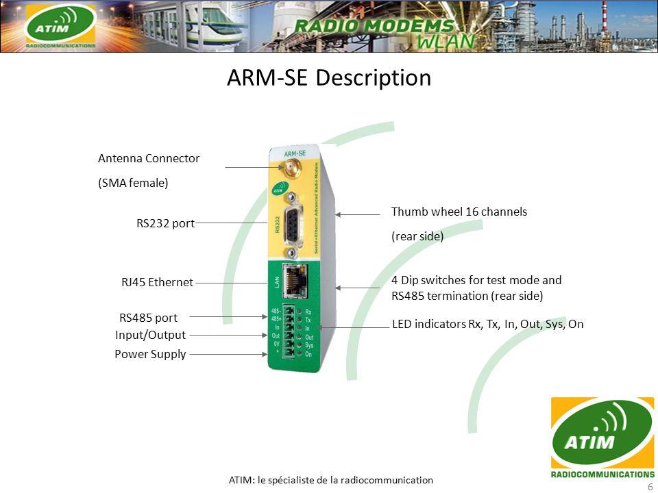 ARM-SE Description ATIM: le spécialiste de la radiocommunication 6 Antenna Connector (SMA female) RS232 port RJ45 Ethernet RS485 port Power Supply Inp