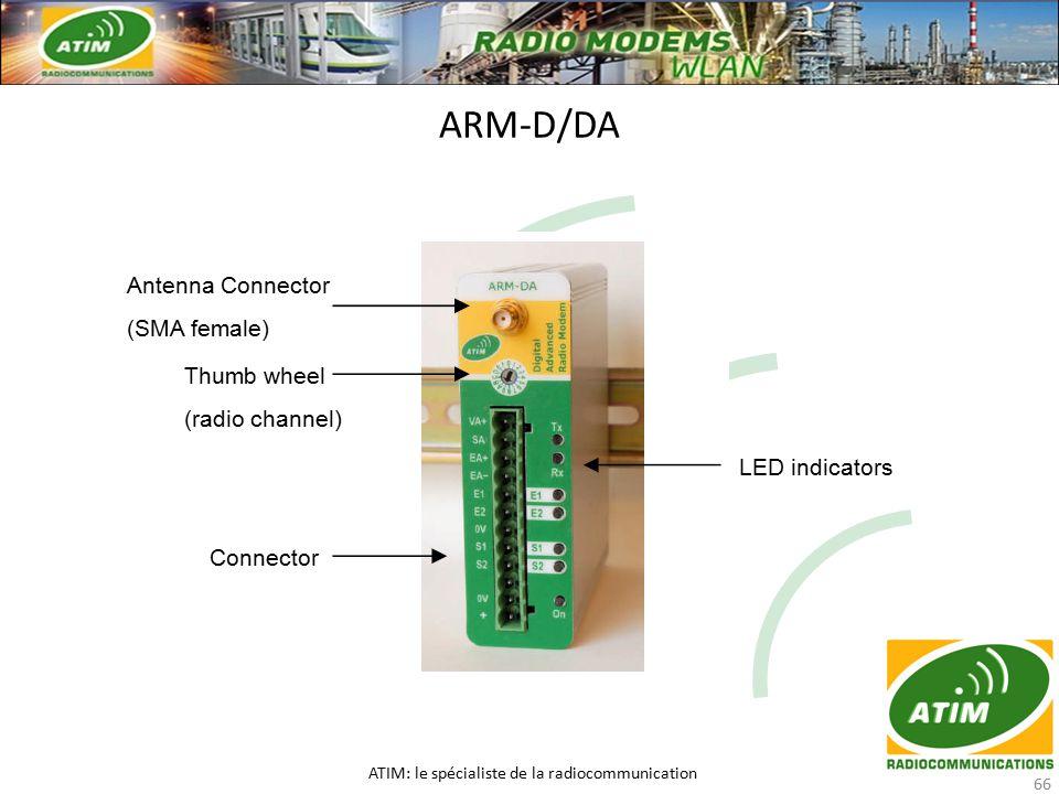 ARM-D/DA ATIM: le spécialiste de la radiocommunication 66 Antenna Connector (SMA female) Thumb wheel (radio channel) Connector LED indicators