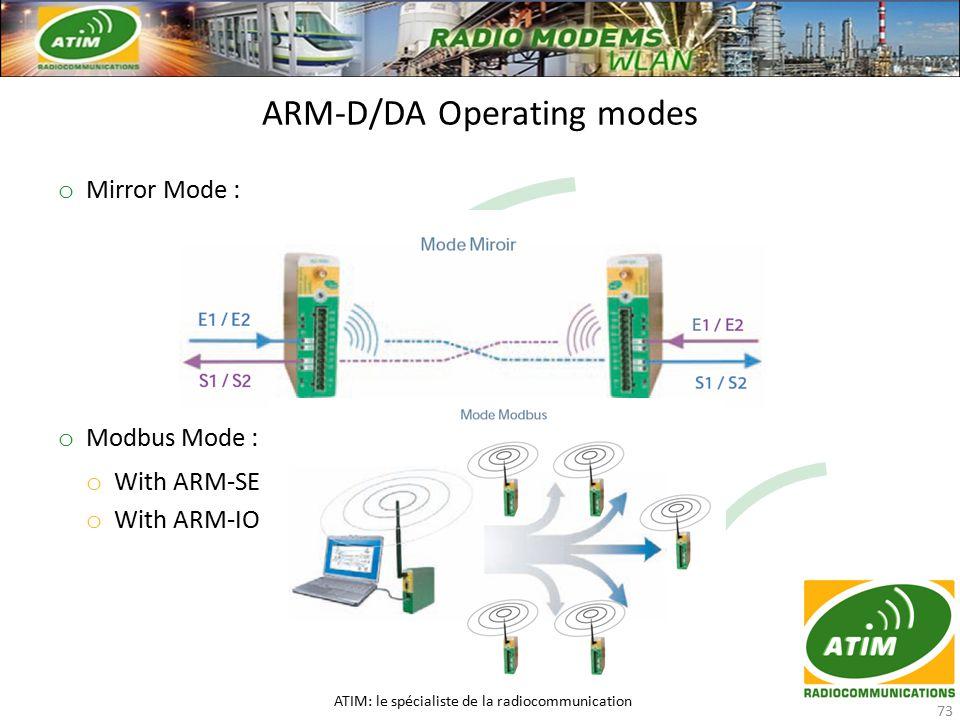 o Mirror Mode : o Modbus Mode : o With ARM-SE o With ARM-IO ARM-D/DA Operating modes ATIM: le spécialiste de la radiocommunication 73