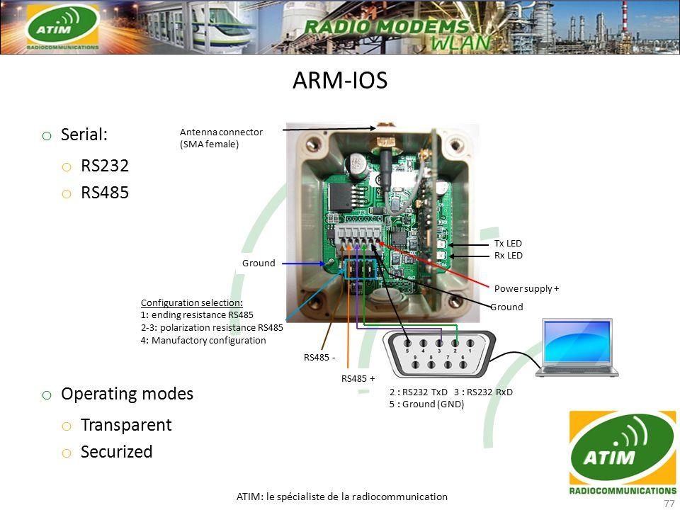o Serial: o RS232 o RS485 o Operating modes o Transparent o Securized ARM-IOS ATIM: le spécialiste de la radiocommunication 77 Tx LED Rx LED Power supply + 2 : RS232 TxD 3 : RS232 RxD 5 : Ground (GND) Ground Ground RS485 + RS485 - Configuration selection: 1: ending resistance RS485 2-3: polarization resistance RS485 4: Manufactory configuration Antenna connector (SMA female)