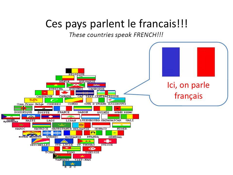 Ces pays parlent le francais!!! These countries speak FRENCH!!! Ici, on parle français