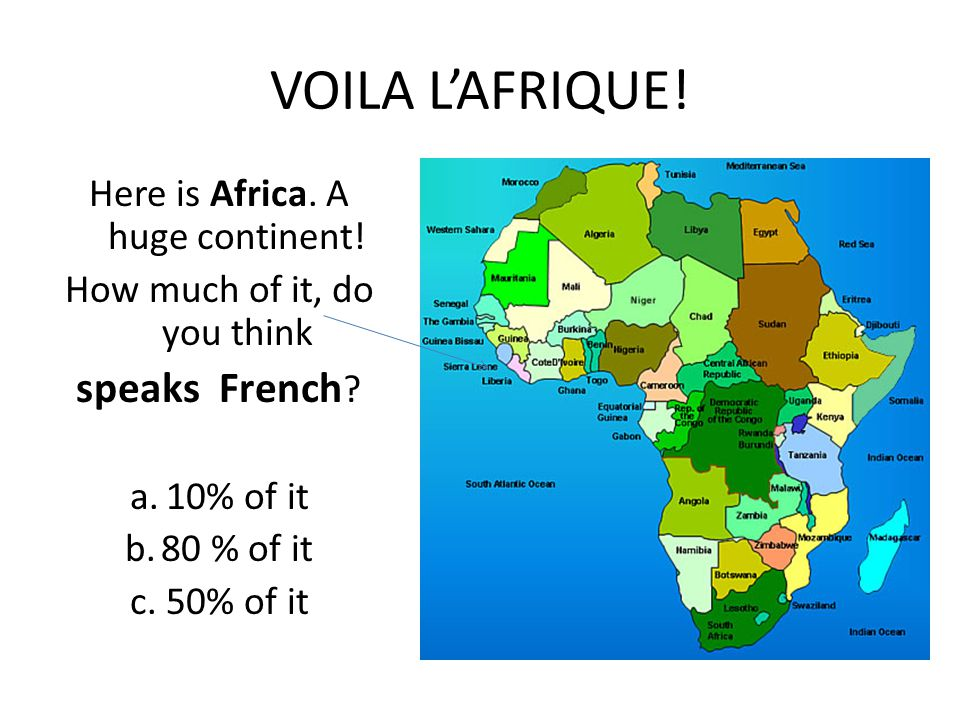 VOILA L'AFRIQUE. Here is Africa. A huge continent.