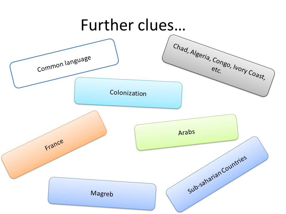 Further clues… Common language Chad, Algeria, Congo, Ivory Coast, etc.