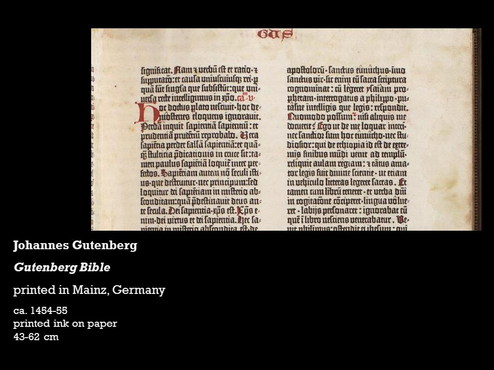 Johannes Gutenberg Gutenberg Bible printed in Mainz, Germany ca.