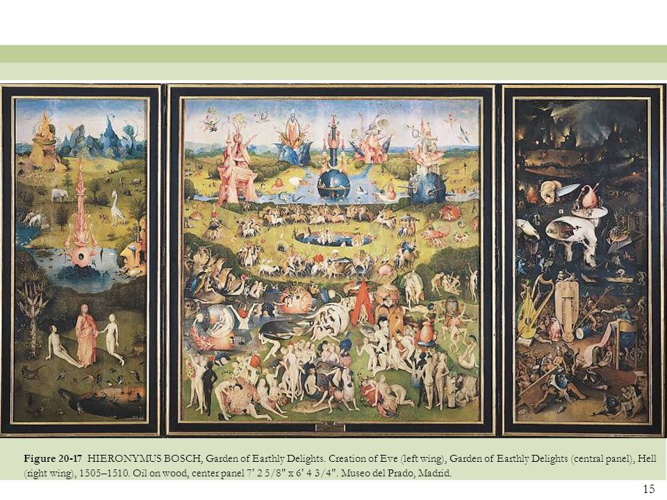 15 Figure 20-17 HIERONYMUS BOSCH, Garden of Earthly Delights. Creation of Eve (left wing), Garden of Earthly Delights (central panel), Hell (right win