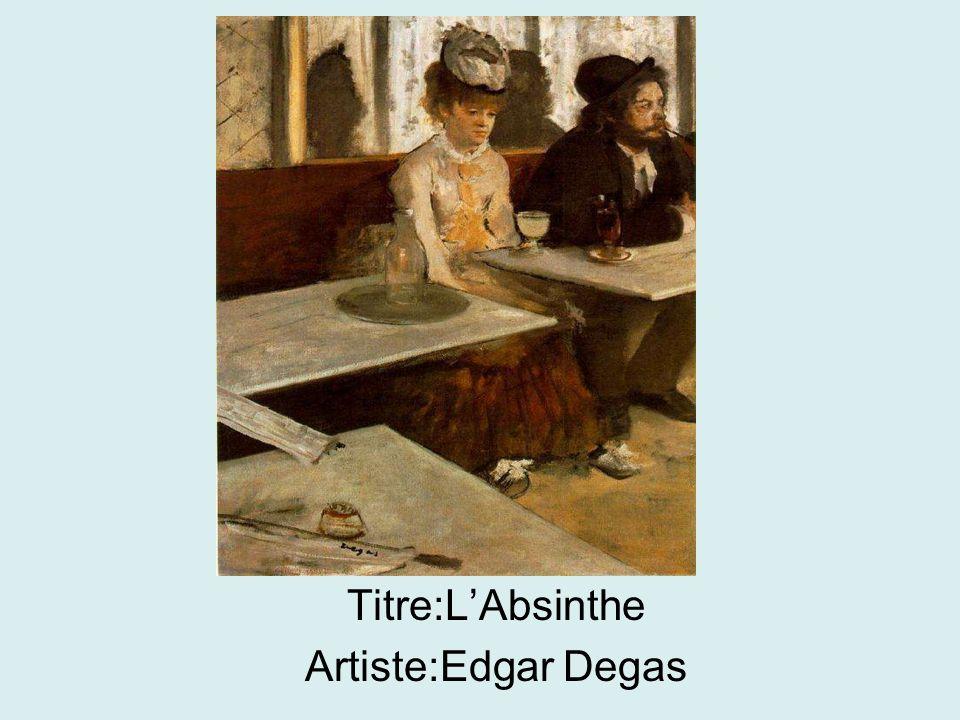 Titre:L'Absinthe Artiste:Edgar Degas