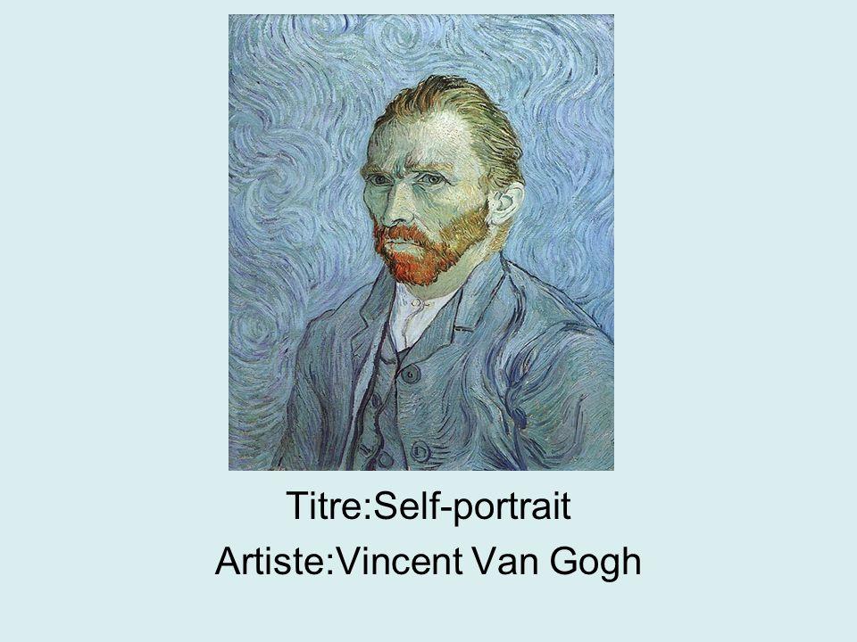 Titre:Self-portrait Artiste:Vincent Van Gogh