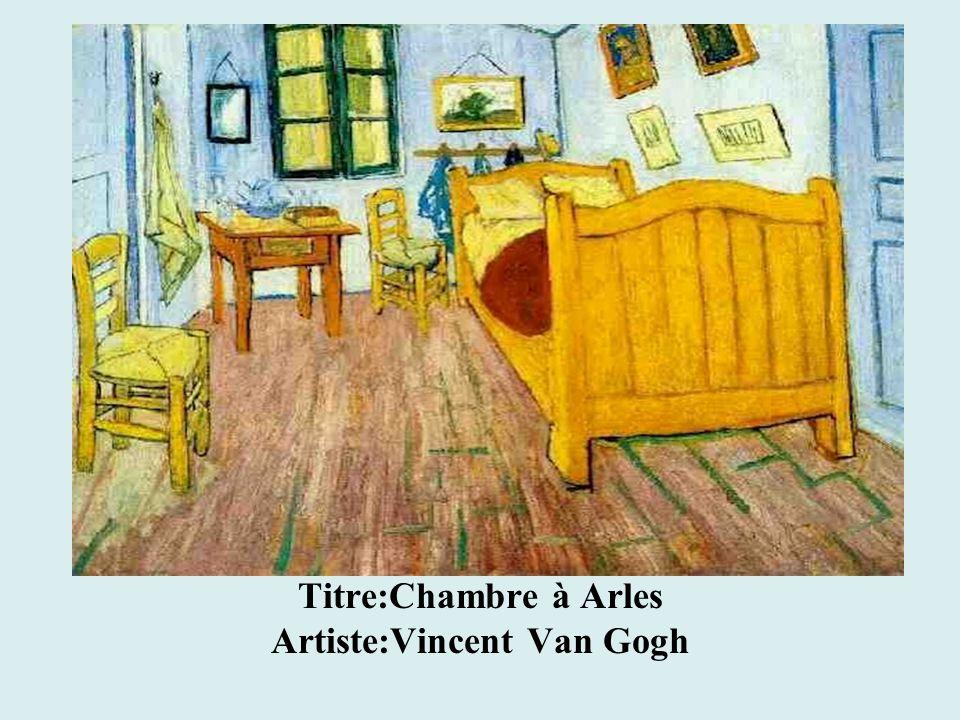 Titre:Chambre à Arles Artiste:Vincent Van Gogh