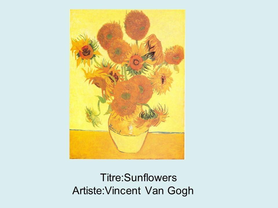 Titre:Sunflowers Artiste:Vincent Van Gogh