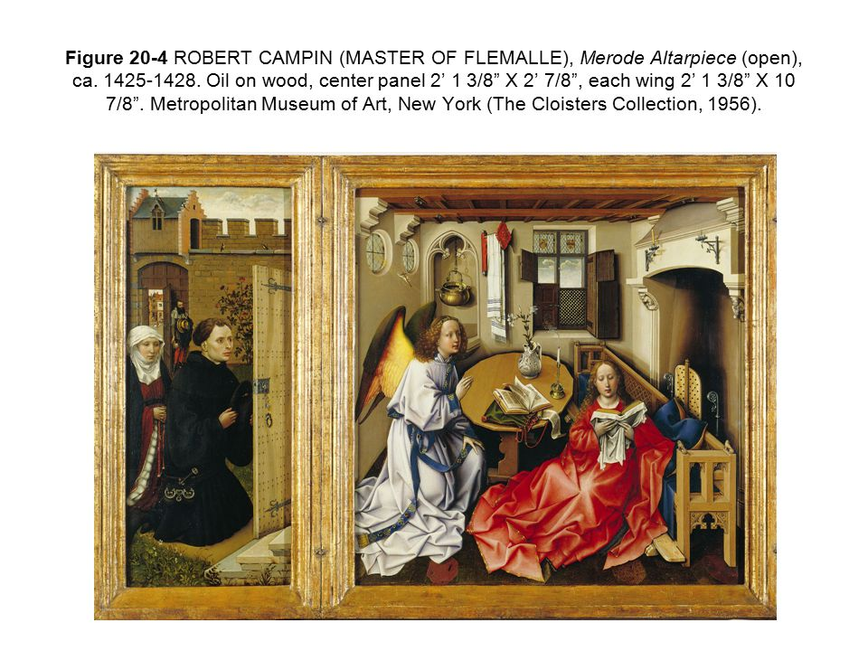 Figure 20-4 ROBERT CAMPIN (MASTER OF FLEMALLE), Merode Altarpiece (open), ca.