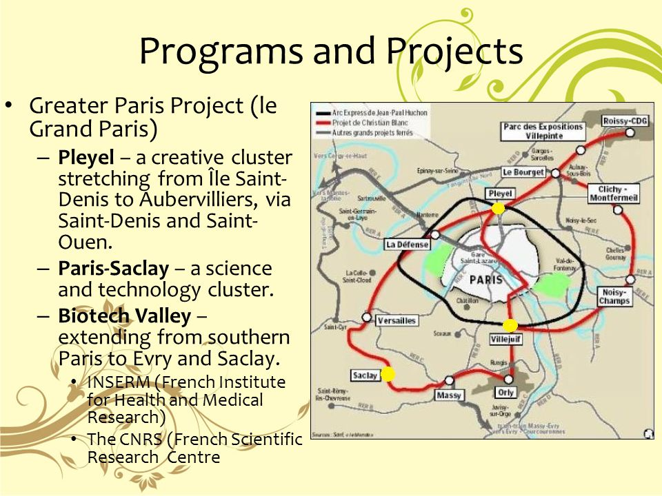 Programs and Projects Greater Paris Project (le Grand Paris) – Pleyel – a creative cluster stretching from Île Saint- Denis to Aubervilliers, via Saint-Denis and Saint- Ouen.