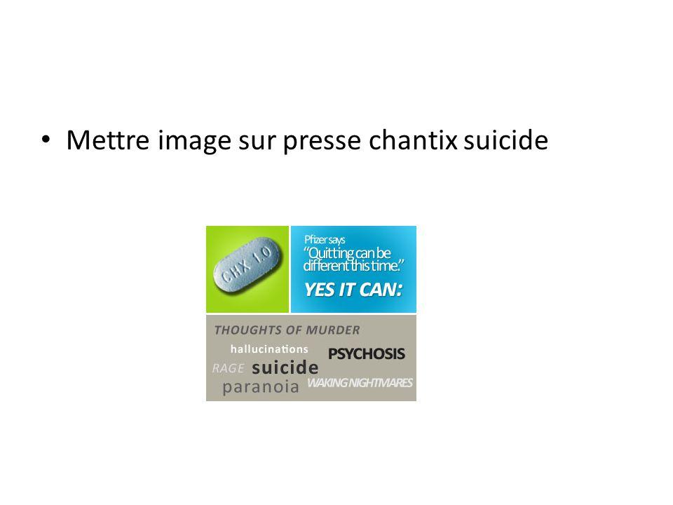 Mettre image sur presse chantix suicide