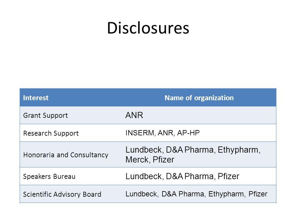 Disclosures InterestName of organization Grant Support ANR Research Support INSERM, ANR, AP-HP Honoraria and Consultancy Lundbeck, D&A Pharma, Ethypharm, Merck, Pfizer Speakers Bureau Lundbeck, D&A Pharma, Pfizer Scientific Advisory Board Lundbeck, D&A Pharma, Ethypharm, Pfizer