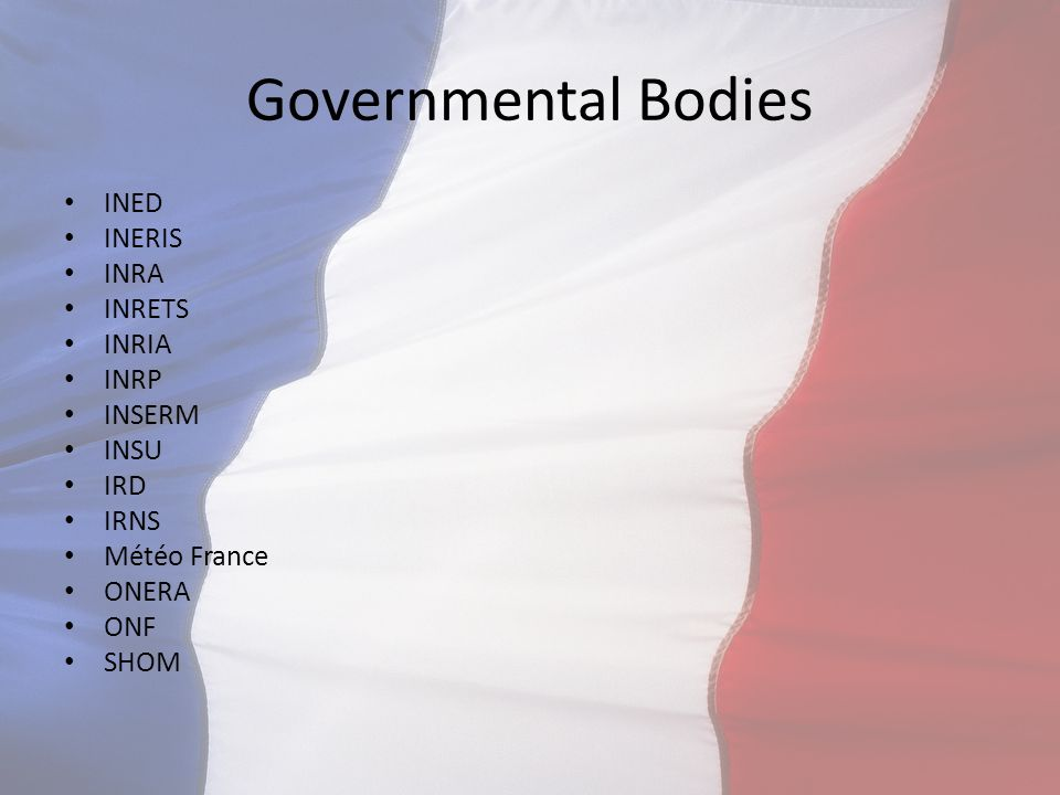Governmental Bodies INED INERIS INRA INRETS INRIA INRP INSERM INSU IRD IRNS Météo France ONERA ONF SHOM