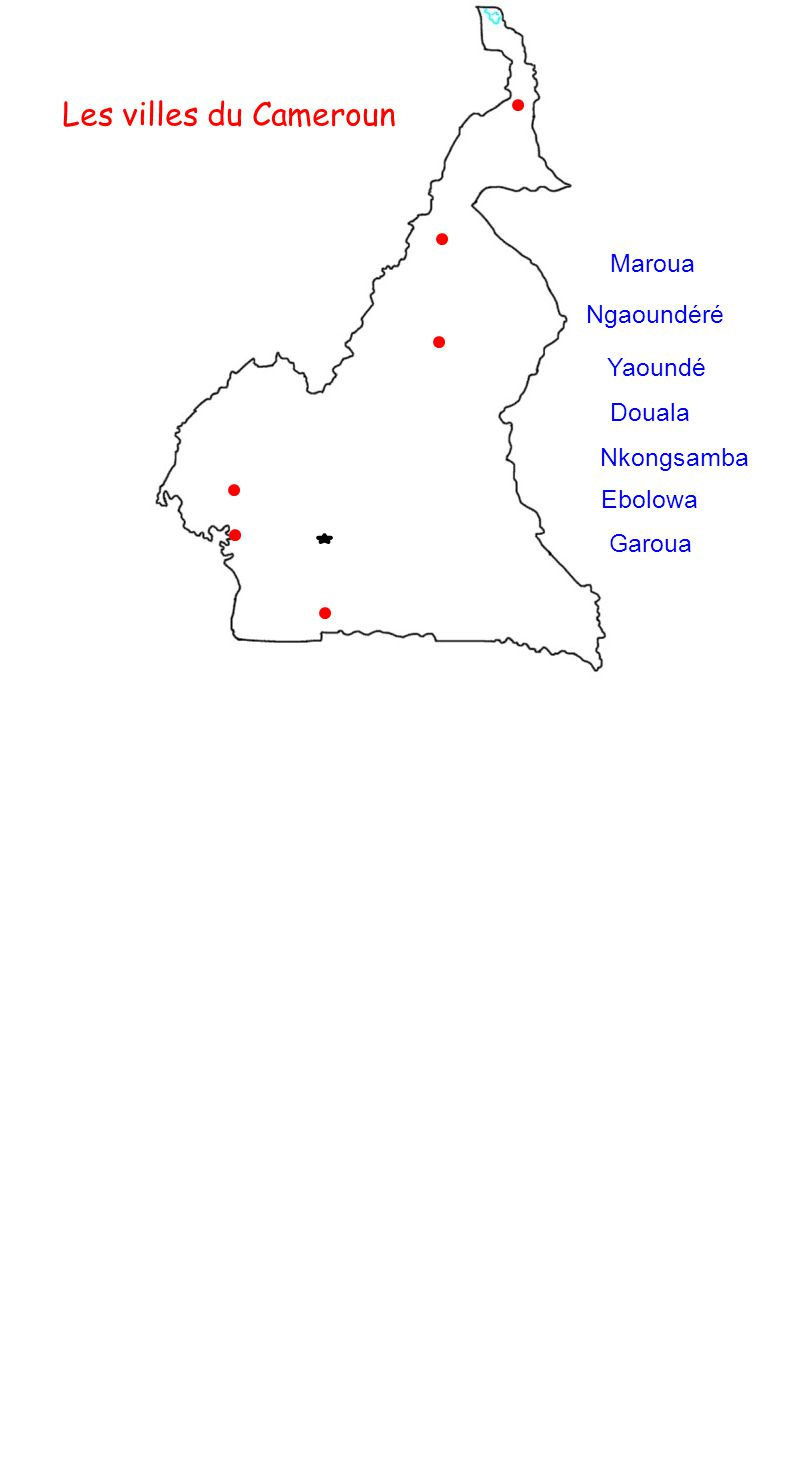 Les villes du Cameroun Yaoundé Douala Nkongsamba Ebolowa Ngaoundéré Garoua Maroua