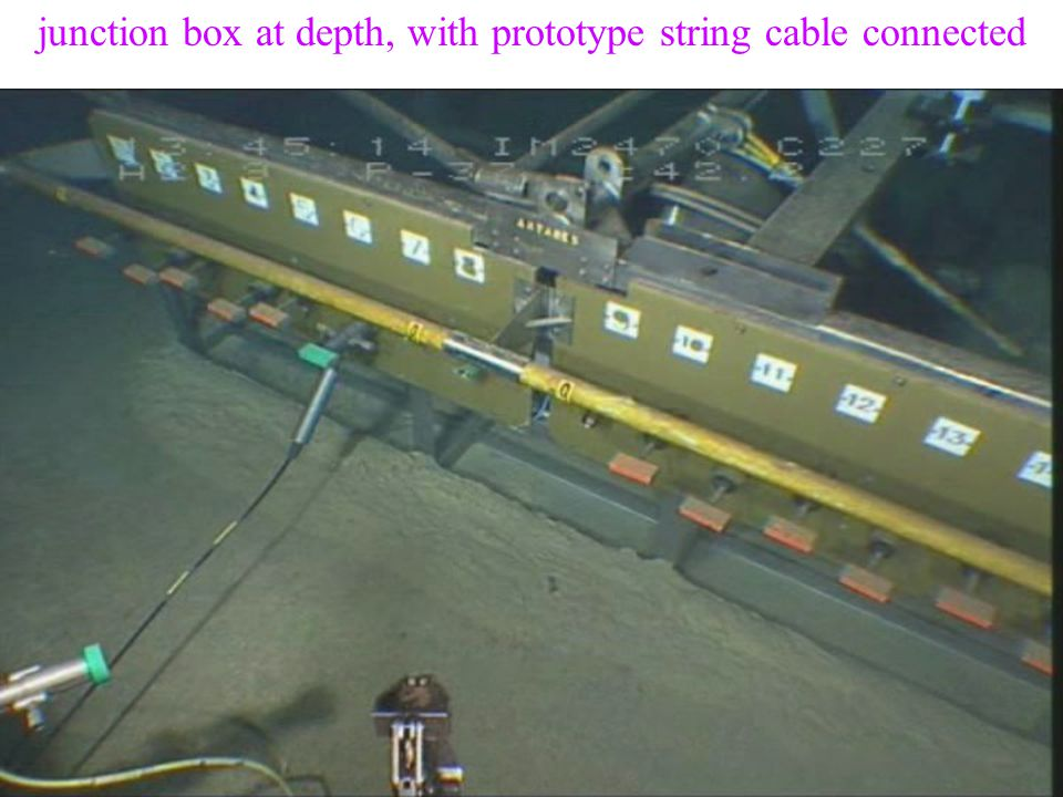 10 August 2004Vth Rencontres du Vietnam - L. Sulak14 junction box at depth, with prototype string cable connected