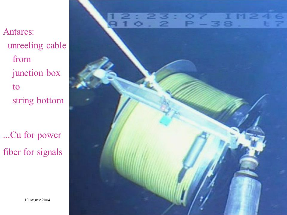 10 August 2004Vth Rencontres du Vietnam - L. Sulak15 Antares: unreeling cable from junction box to string bottom...Cu for power fiber for signals