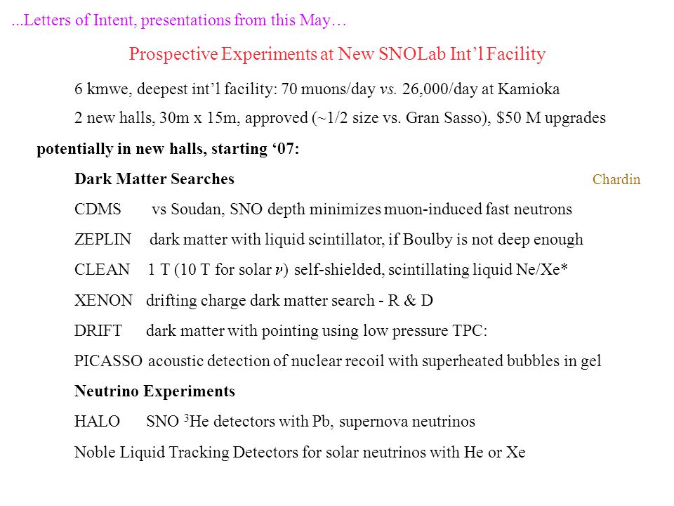 ...Letters of Intent, presentations from this May… Prospective Experiments at New SNOLab Int'l Facility 6 kmwe, deepest int'l facility: 70 muons/day v