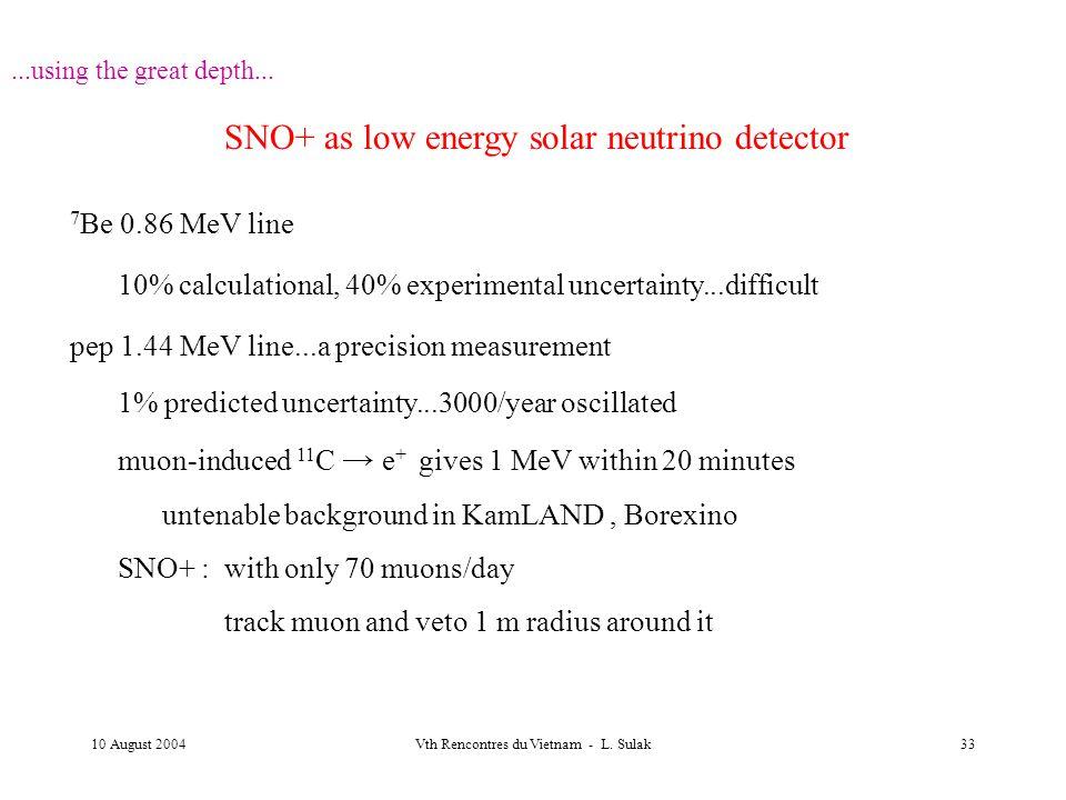 10 August 2004Vth Rencontres du Vietnam - L. Sulak33...using the great depth... SNO+ as low energy solar neutrino detector 7 Be 0.86 MeV line 10% calc