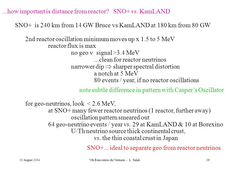 10 August 2004Vth Rencontres du Vietnam - L. Sulak39...how important is distance from reactor.