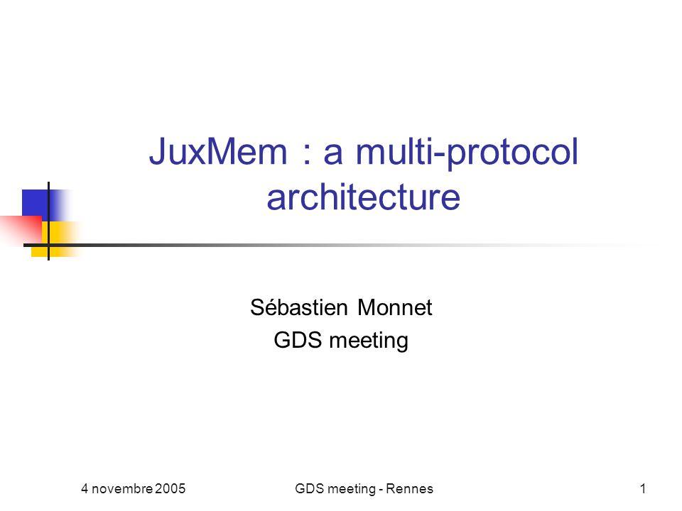 4 novembre 2005GDS meeting - Rennes1 JuxMem : a multi-protocol architecture Sébastien Monnet GDS meeting