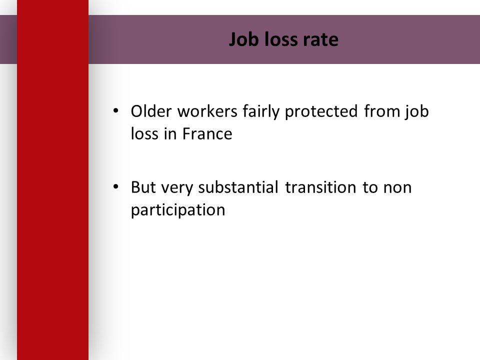 Job loss rate Older workers fairly protected from job loss in France But very substantial transition to non participation