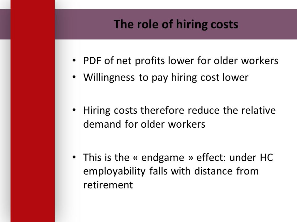 The role of hiring costs PDF of net profits lower for older workers Willingness to pay hiring cost lower Hiring costs therefore reduce the relative de