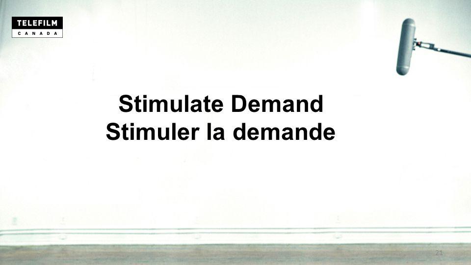 Stimulate Demand Stimuler la demande 21