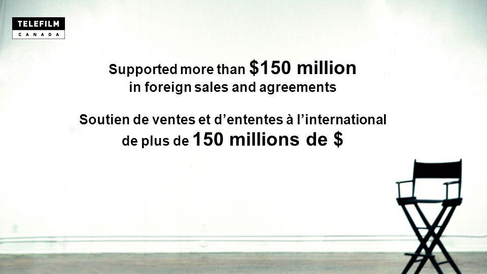 Supported more than $150 million in foreign sales and agreements Soutien de ventes et d'ententes à l'international de plus de 150 millions de $ 4