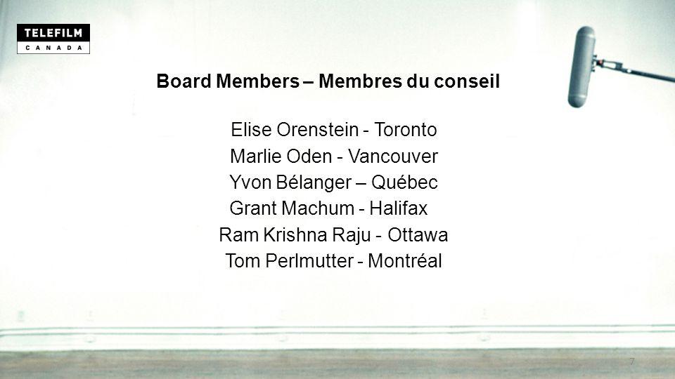 Board Members – Membres du conseil Elise Orenstein - Toronto Marlie Oden - Vancouver Yvon Bélanger – Québec Grant Machum - Halifax Ram Krishna Raju - Ottawa Tom Perlmutter - Montréal 7