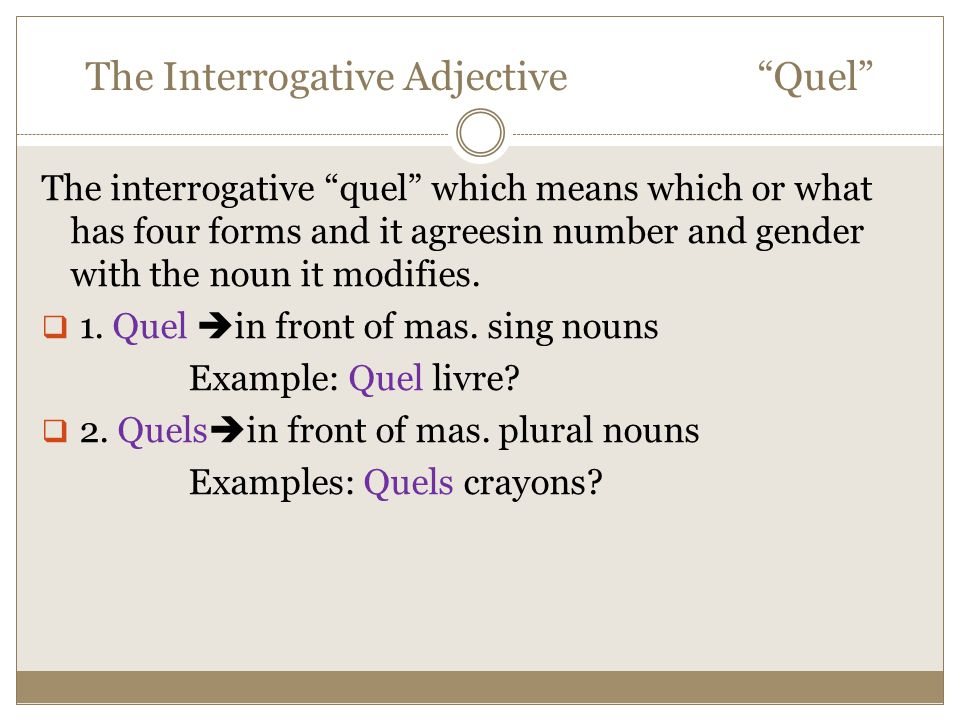 "The Interrogative Adjective ""Quel"" The interrogative ""quel"" which means which or what has four forms and it agreesin number and gender with the noun i"