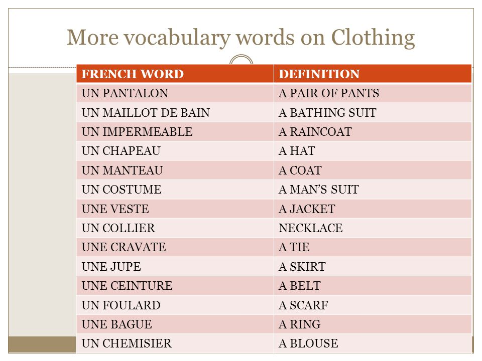 More vocabulary words on Clothing FRENCH WORDDEFINITION UN PANTALONA PAIR OF PANTS UN MAILLOT DE BAINA BATHING SUIT UN IMPERMEABLEA RAINCOAT UN CHAPEA