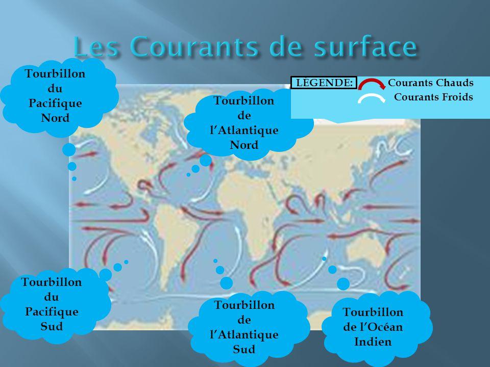Tourbillon du Pacifique Nord Tourbillon du Pacifique Sud Tourbillon de l'Atlantique Nord Tourbillon de l'Atlantique Sud Tourbillon de l'Océan Indien LÉGENDE: Courants Chauds Courants Froids