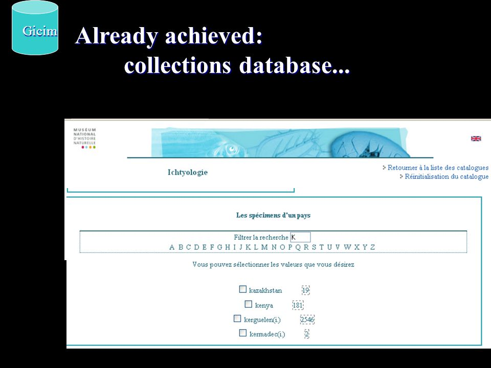 Already achieved: collections database... Gicim