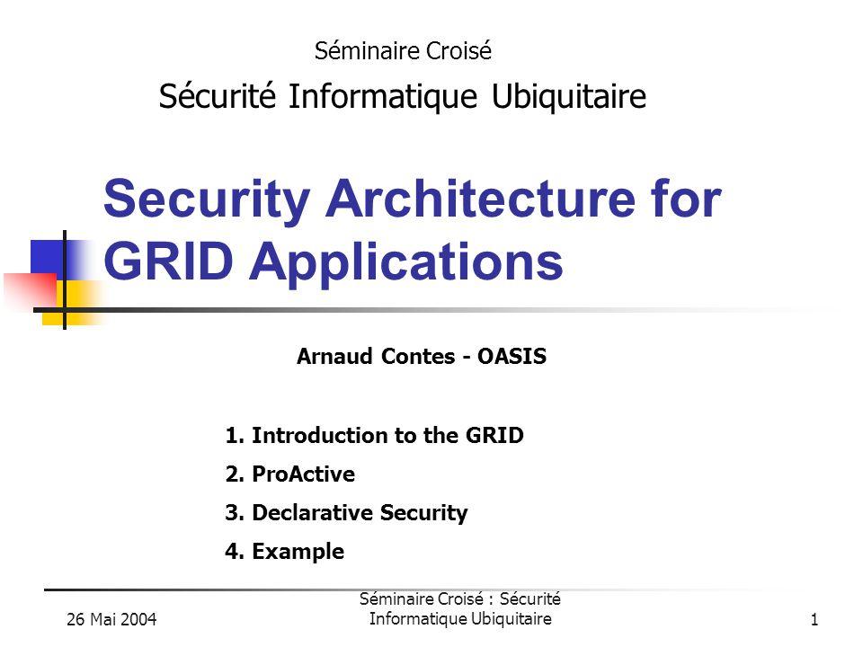 26 Mai 2004 Séminaire Croisé : Sécurité Informatique Ubiquitaire32 Example Domain GridADomain GridB Rose Daliah VN1 VN2 Policy rules database Migration : - same VN - same domain JVM