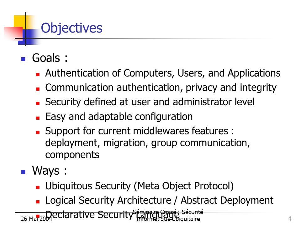 26 Mai 2004 Séminaire Croisé : Sécurité Informatique Ubiquitaire5 A Java API + Tools for Parallel, Distributed Computing A uniform framework: An Active Object pattern A formal model behind: Prop.