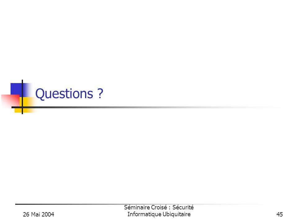 26 Mai 2004 Séminaire Croisé : Sécurité Informatique Ubiquitaire45 Questions