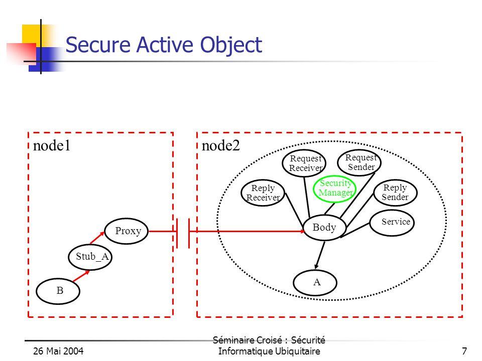 26 Mai 2004 Séminaire Croisé : Sécurité Informatique Ubiquitaire38 Example /…/ proActiveDescriptor.activateMappings(); vn1 = proActiveDescriptor.getVirtualNode( vm1 ); vn2 = proActiveDescriptor.getVirtualNode( vm2 ); /…/ Flower rose = (Flower) ProActive.newActive(Flower.class,new Object[]{« Rose »}, vn1.getNode()}; Flower daliah = (Flower) ProActive.newActive(Flower.class,new Object[]{« Daliah »}, vn2.getNode()}; /* next VN1 node inside the same domain */ rose.migrateTo(vn1); /* communication inside the same domain */ rose.sayHelloTo(daliah); /* other virtual node, forbidden */ rose.migrateTo(vn2); /* next VN1 Node, other domain */ rose.migrateTo(vn1); /* communication with another domain */ rose.sayHelloTo(daliah);