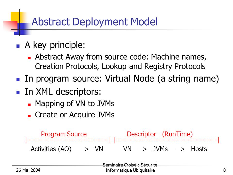 26 Mai 2004 Séminaire Croisé : Sécurité Informatique Ubiquitaire8 Abstract Deployment Model A key principle: Abstract Away from source code: Machine names, Creation Protocols, Lookup and Registry Protocols In program source: Virtual Node (a string name) In XML descriptors: Mapping of VN to JVMs Create or Acquire JVMs Program Source Descriptor (RunTime) |----------------------------------| |-------------------------------------------| Activities (AO) --> VN VN --> JVMs --> Hosts