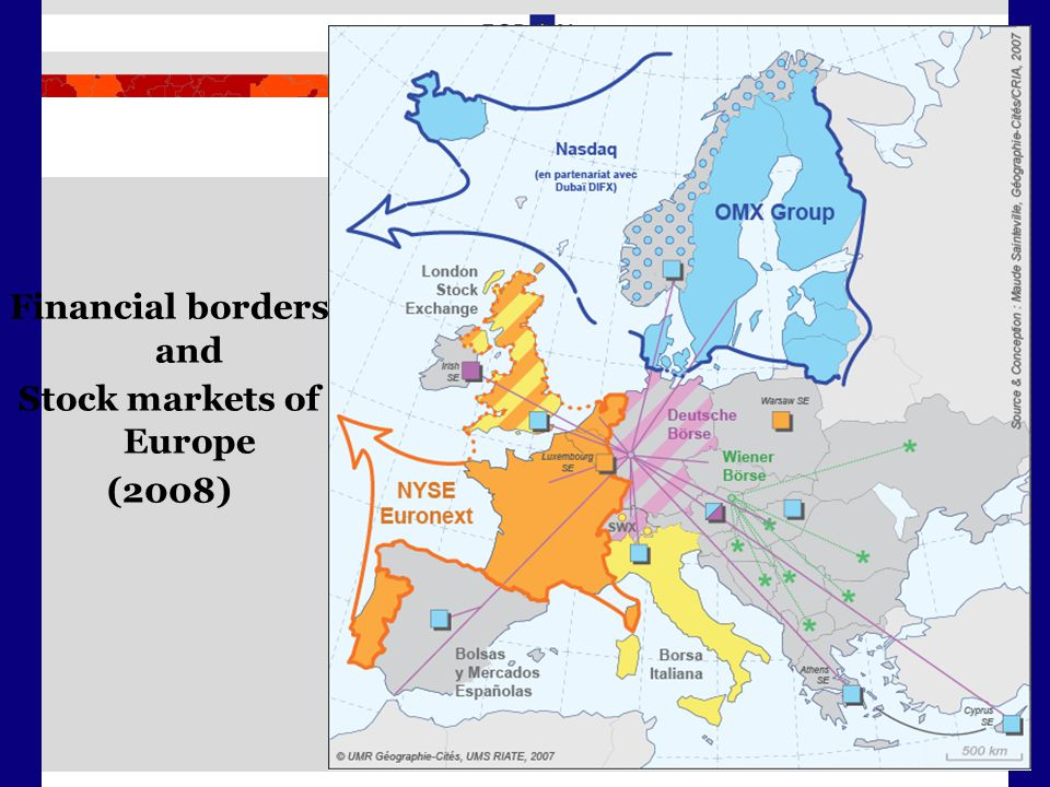Financial borders and Stock markets of Europe (2008)