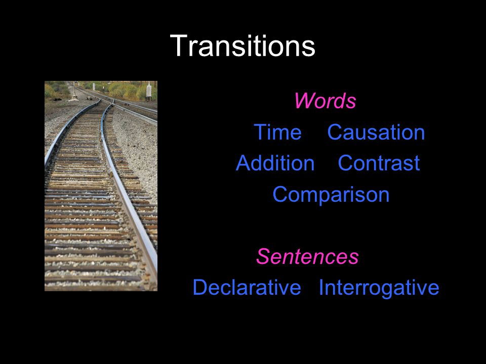 Transitions Words Time Causation Addition Contrast Comparison Sentences Declarative Interrogative
